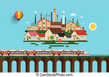 Modern Train on High Bridge and Abstract City on Background. Vector Flat Design Illustration.
