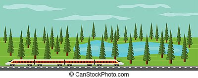 Modern Train on Rails in Picturesque Landscape with Lake and Forest