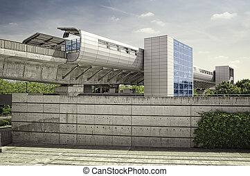 Modern train station and DLR , UK.