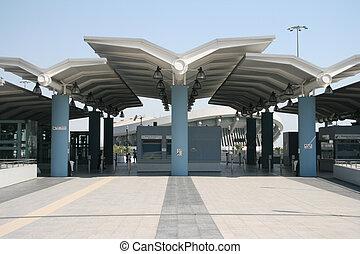 modern train station at piraeus athens greece