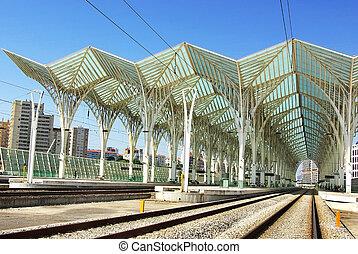 Modern train station in Lisbon.