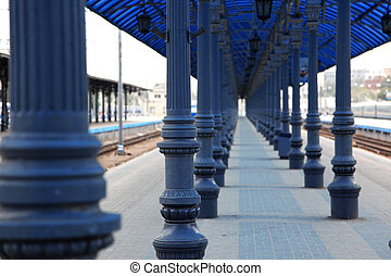 modern train station in retro style