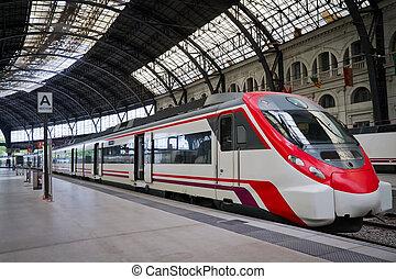 Modern train station - Modern train at the station....