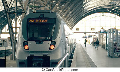 Modern train to Amsterdam. Travelling to Netherlands conceptual illustration