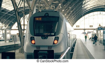 Modern train to Nice. Travelling to France conceptual intro...