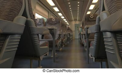 Modern train wagon interior.