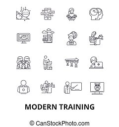 Modern training, business learning, online course, video school, education line icons. Editable strokes. Flat design vector illustration symbol concept. Linear isolated signs