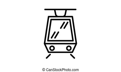 Modern tram car icon animation outline best object on white background