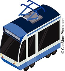 Modern tram car icon, isometric style