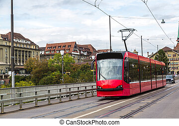 Modern tram in Bern in a summer day