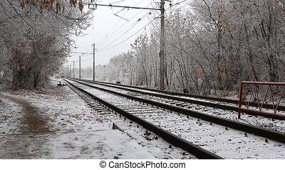 Modern tram in the city, Russian railroads