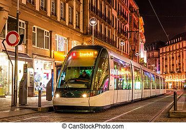 Modern tram in the Strasbourg city center. France, Alsace