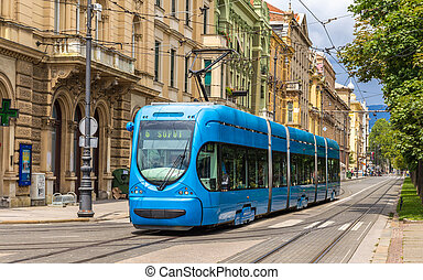 Modern tram on a street of Zagreb, Croatia