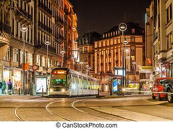 Modern tram on at Strasbourg city center. France, Alsace