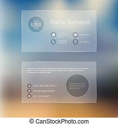 Modern transparent business card template - Modern simple...