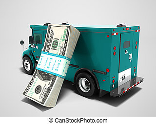 Modern transport concept stack of dollars in blue cargo bank with armored car, side view 3d render on gray background with shadow
