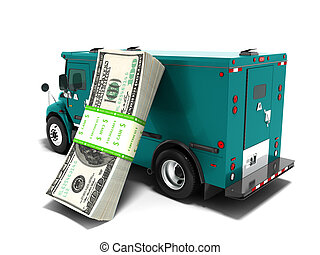 Modern transport concept stack of dollars in blue cargo bank with armored car, side view 3d render on white background with shadow