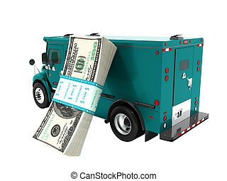 Modern transport concept stack of dollars in blue cargo bank with armored car, side view 3d render on white background no shadow