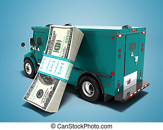 Modern transport concept stack of dollars in blue cargo bank with armored car, side view 3d render on blue background with shadow