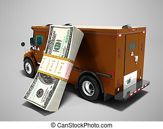 Modern transport concept stack of dollars in brown cargo bank with armored car, side view 3d render on gray background with shadow