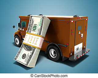 Modern transport concept stack of dollars in brown cargo bank with armored car, side view 3d render on blue background with shadow