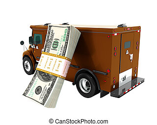 Modern transport concept stack of dollars in brown cargo bank with armored car, side view 3d render on white background no shadow