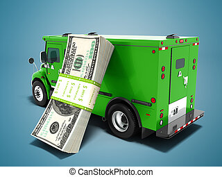 Modern transport concept stack of dollars in green cargo bank with armored car, side view 3d render on blue background with shadow
