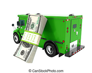 Modern transport concept stack of dollars in green cargo bank with armored car, side view 3d render on white background no shadow