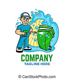 Modern Trash can with a guy logo. Vector illustration.