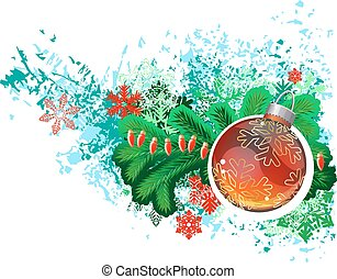 Modern trendy christmas picture with green branch of fir and glass ball. .