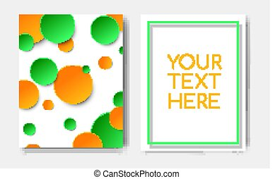 Modern trendy flyer concept with geometric pattern yellow green circle elements and text copy space,mockup banner design.Abstract minimalistic memphis cover page,poster,brochure template