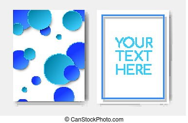 Modern trendy poster concept with geometric pattern blue circle elements and text copy space,mockup banner design.Abstract minimalistic memphis cover page,flyer,brochure template