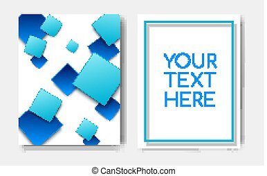 Modern trendy poster concept with geometric pattern blue square elements and text copy space,mockup banner design.Abstract minimalistic memphis cover page,flyer,brochure template