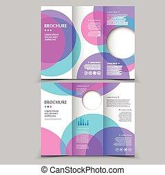 modern tri-fold brochure template design with circular...