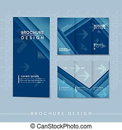 modern tri-fold template design with streak element in blue