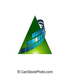 Modern triangle logo design, multi color triangle symbols