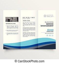 modern trifold leaflet brochure design in blue wave shape