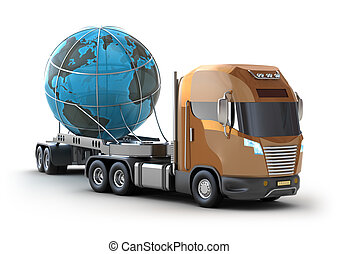 Modern truck transporting the globe isolated on white