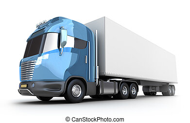 Modern truck with cargo container, isolated on white 3d ...