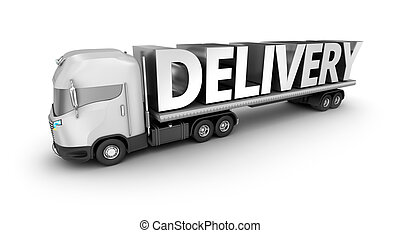 Modern truck with delivery word, isolated. My own truck design.