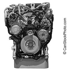 Modern turbo diesel truck engine isolated on white background