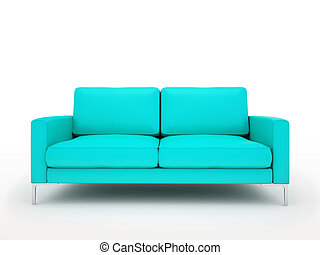 Modern turquoise sofa isolated on white background