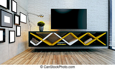 Modern tv unit for modern office or homes design with brick and concrete wall idea 3D rendering