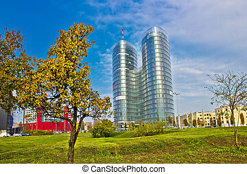 Modern twin tower in City of Zagreb
