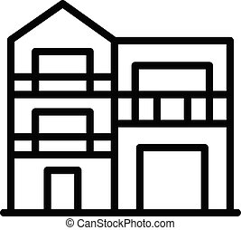 Modern two story house icon, outline style - Modern two ...