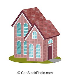 Modern two story house with a triangular roof. Vector ...