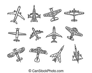 different types of plane icons - vector icon set - Vector