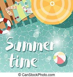 Modern typographic summer poster design flip flops, swimming...