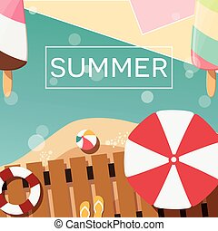 Modern typographic summer poster design with ice cream, beach and geometric elements