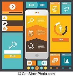 Modern UI flat design vector kit. Web elements template
